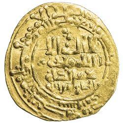 GREAT SELJUQ: Tughril Beg, 1038-1063, AV dinar (3.03g), Nishapur, AH45x. VF