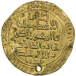 ILKHAN: Hulagu, 1256-1265, AV dinar (6.45g), Baghdad, AH6xx. VF