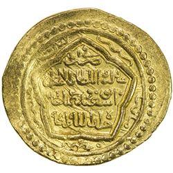 ILKHAN: Abu Sa'id, 1316-1335, AV dinar (8.07g), Abu Ishaq (= Kazirun), AH722. VF-EF