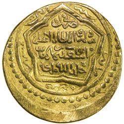 ILKHAN: Abu Sa'id, 1316-1335, AV dinar (8.64g), Shiraz, AH722. VF