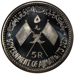 AJMAN: Rashid Bin Hamad al-Naimi, 1928-1981, AR 5 riyals, 1970/AH1390. PCGS PF67