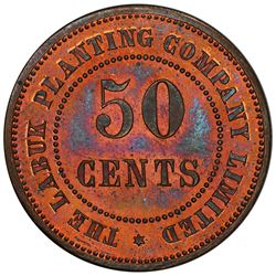 BRITISH NORTH BORNEO: AE 50 cents token, ND [ca. 1900s]