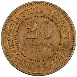 BRITISH NORTH BORNEO: AE 20 cents token, ND [ca. 1890s]. PF