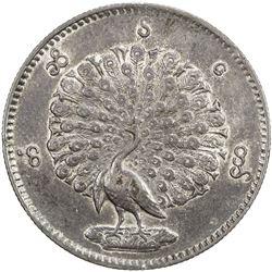 BURMA: AR kyat, CS1214 (1852), KM-10, peacock, EF-AU