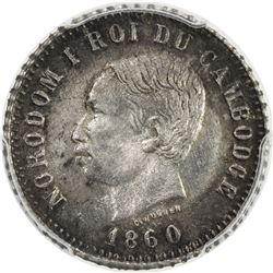 CAMBODIA: Norodom I, 1860-1904, AR 1 franc, 1860. PCGS MS63