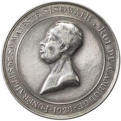 CAMBODIA: Sisowath I, 1904-1927, AR medal (15.84g), 1928, Lec-140, Funeral for Sisowath I, EF