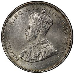 CEYLON: George V, 1910-1936, AR 50 cents, 1924. PCGS MS64