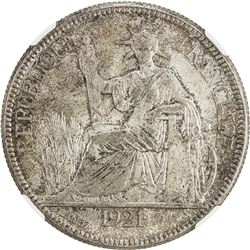 FRENCH INDOCHINA: AR piastre, 1921. NGC MS65