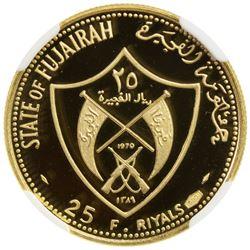 FUJAIRAH: Muhammad b. Hamad al-Sharqi, 1952-1974, AV 25 riyals, AH1389//1970. NGC PF68
