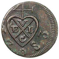 SUMATRA: Bencoolen Presidency, 1760-1785, AE 2 kepings, 1797/AH1197. VF