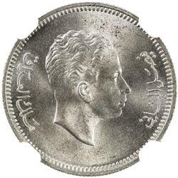 IRAQ: Faisal II, 1939-1958, AR 20 fils, 1955/AH1375. NGC MS65