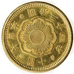 JAPAN: Meiji, 1868-1912, AV 10 yen, year 34 (1901). EF