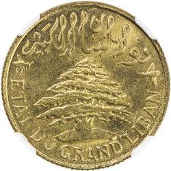 LEBANON: French Mandate, 5 piastres, 1925. NGC MS64