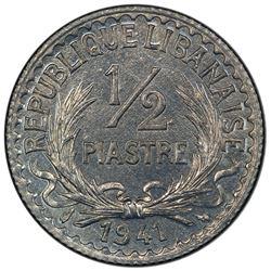 LEBANON: zinc 1/2 piastre, 1941(p). PCGS MS65