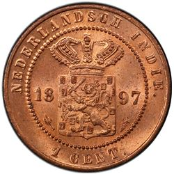 NETHERLANDS EAST INDIES: AE cent, 1897. PCGS MS65