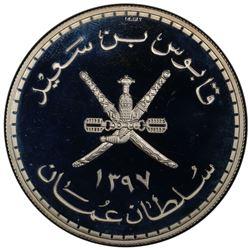 OMAN: Qaboos bin Said, 1970-, AR 5 Omani rials, AH1397. PCGS PF67