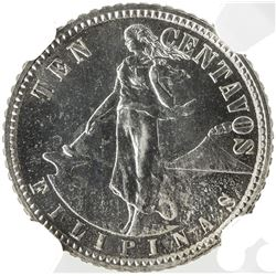 PHILIPPINES: U.S. Territory, AR 10 centavos, 1908. NGC PF63
