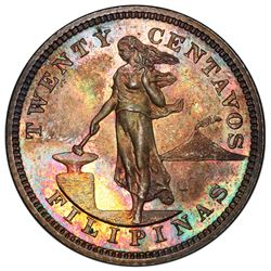PHILIPPINES: U.S. Territory, AR 20 centavos, 1904. PCGS PF65