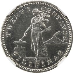 PHILIPPINES: U.S. Territory, AR 20 centavos, 1906. NGC PF63