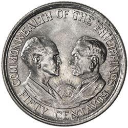 PHILIPPINES: Commonwealth, 1936-1946, AR 50 centavos, 1936-M. UNC