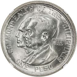 PHILIPPINES: Commonwealth, 1936-1946, AR peso, 1936. NGC MS63