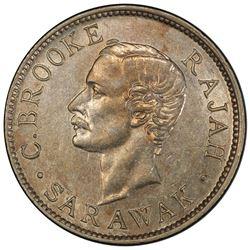 SARAWAK: Charles J. Brooke, 1868-1917, AR 10 cents, 1911-H. PCGS AU58