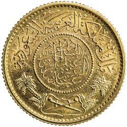 SAUDI ARABIA: 'Abd al-'Aziz b. Sa'ud, 1926-1953, AV guinea (soverieign), Makka al-Mukarrama (Mecca),