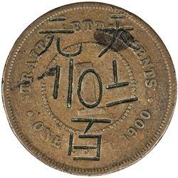 STRAITS SETTLEMENTS: Victoria, 1867-1901, AE cent, 1900. F