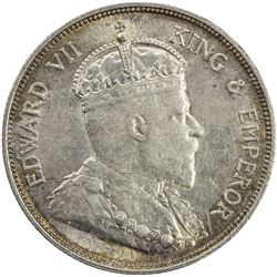 STRAITS SETTLEMENTS: Edward VII, 1901-1910, AR 50 cents, 1908-H. AU