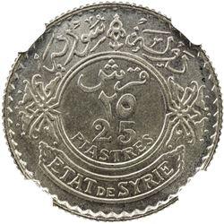 SYRIA: AR 25 piastres, 1929(p). NGC MS65