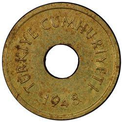TURKEY: Republic, brass 1/2 kurush pattern, 1948. PCGS MS62