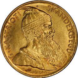 ALBANIA: Amet Zogu, 1925-1939, AV 20 frangi ari, Vienna, 1927-V. PCGS MS64