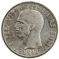 ALBANIA (ITALIAN OCCUPATION): Vittorio Emanuele, 1939-1942, AR 5 lek, 1939-R. EF