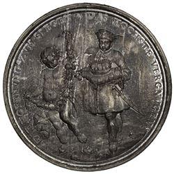 HOLY ROMAN EMPIRE: Leopold I, 1658-1705, zinc medal (63.36g), 1687. AU