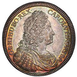 AUSTRIA: Karl VI, 1711-1740, AR reichstaler, Hall, 1730. PCGS MS64