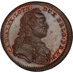AUSTRIAN NETHERLANDS: AE jeton (15.70g), 1758. PCGS MS65