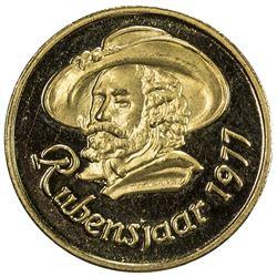 BELGIUM: Baudouin, 1951-1993, medallic AV 20 franc (6.45g), 1977. BU