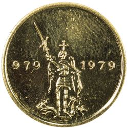 BELGIUM: Baudouin, 1951-1993, medallic AV 20 franc (6.45g), 1979. BU