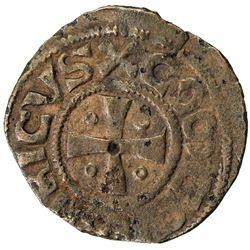 KINGDOM OF JERUSALEM: Henri de Champagne, 1192-1197, AE pougeoise (1.13g). VF