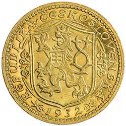 CZECHOSLOVAKIA: Republic, AV ducat, 1932. UNC