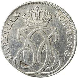DENMARK: Christian VI, 1730-1746, AR 24 skilling, 1740, KM-538, initials CW, EF
