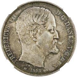 DENMARK: Frederik VII, 1848-1863, AR 2 rigsdaler, Copenhagen, 1863 RH. NGC UNC