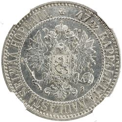 FINLAND: Alexander II, 1855-1881, AR 2 markkaa, 1865. NGC MS62