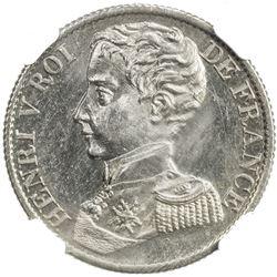 FRANCE: Henri V, Pretender, 1830-1883, AR franc, 1831. NGC MS61