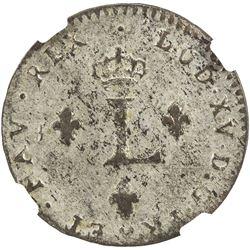 FRENCH COLONIES: Louis XV, 1715-1774, AR 2 sols (sou marque), 1762-BB. NGC AU55