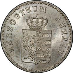 ANHALT-BERNBURG: Alexander Carl, 1834-1863, AR 2 1/2 groschen, 1856. PCGS MS66