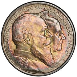 BADEN: Friedrich I, as Grand Duke, 1856-1907, AR 3 mark, 1906. PCGS MS66