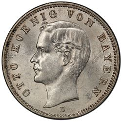 BAVARIA: Otto II, 1886-1913, AR 2 mark, 1888-D. PCGS MS64