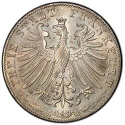 FRANKFURT: Free Imperial City, AR 2 gulden, 1855. PCGS MS64