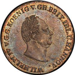 HANOVER: Wilhelm IV, 1830-1837, AR 2/3 thaler, 1834-A. PCGS AU55